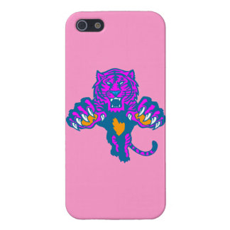 Retro Pouncing tiger för Corey tiger80-tal (rosor) iPhone 5 Cases