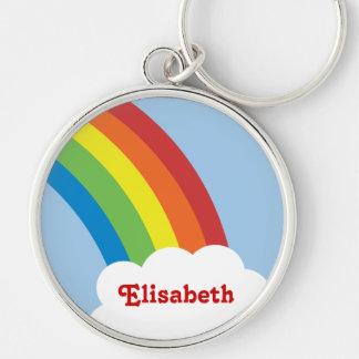 Retro regnbågepersonlig Keychain för 80-tal Rund Silverfärgad Nyckelring