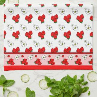 Retro röd jordgubbePatten kökshandduk