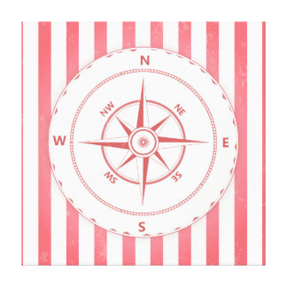 Retro röd kompassillustration canvastryck