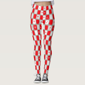 Retro röd Starbursts damasker Leggings