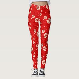 Retro röda & för vitSnowflakehelgdag för tryck Leggings