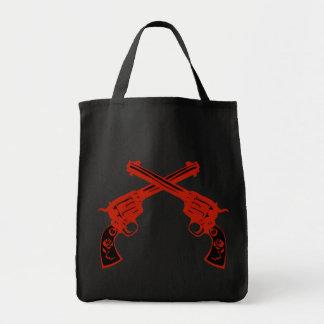 Retro röda korsade pistoler mat tygkasse