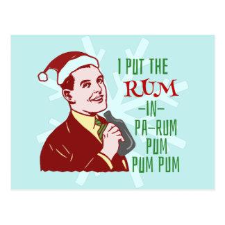Retro rom för rolig jul som dricker manhelgdag vykort