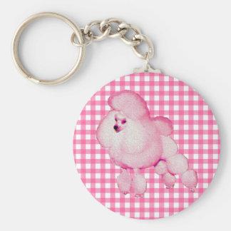 Retro rosa pudelGingham Keychain Rund Nyckelring