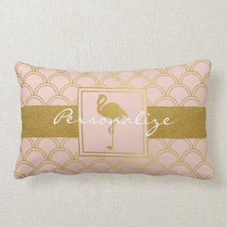 Retro rosor för Flamingo och Fauxguldpersonlig Lumbarkudde