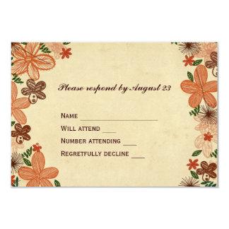 Retro rosta den orange blommaOSAN 8,9 X 12,7 Cm Inbjudningskort