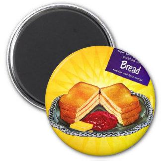Retro rostat bröd & sylt för bröd för vit för vint magnet rund 5.7 cm