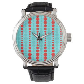 Retro rött och turkos pricker klockan armbandsur