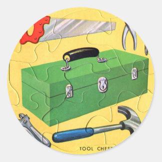 Retro sats för verktyg för pussel för leksak för runt klistermärke