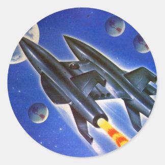 Retro Sci Fi för vintage Spaceship 'tre jordar Runt Klistermärke