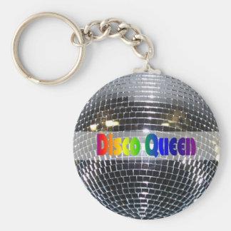 Retro skina 80-tal för drottning för disko för sil rund nyckelring