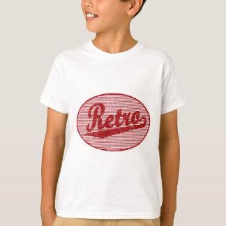 Retro skriva logotypen i rött bekymrat tröjor