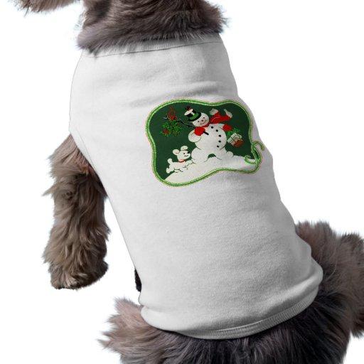 Retro snögubbe & Snowdog Hund Tee