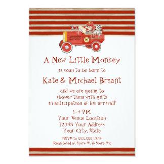 Retro sock monkey w avfyrar motorpojkegåvor 12,7 x 17,8 cm inbjudningskort