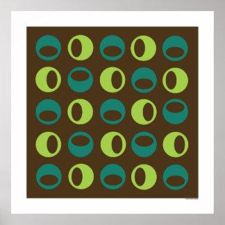 Retro Spheres på brunt kvadrerar affischen Poster