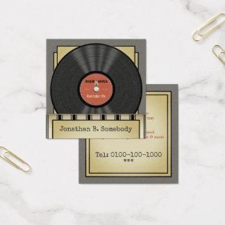 Retro stenvinylrekord fyrkantigt visitkort