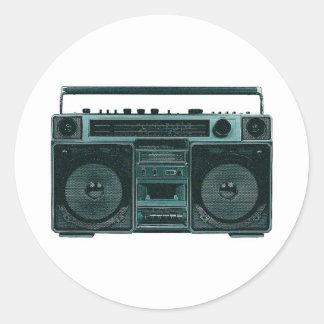 retro stereo rund klistermärke