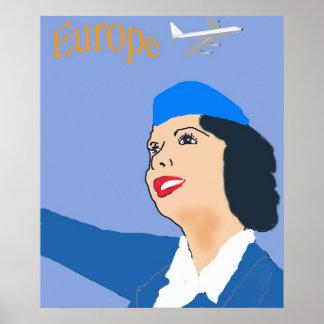 Retro stewardess för stil60-talflyg poster