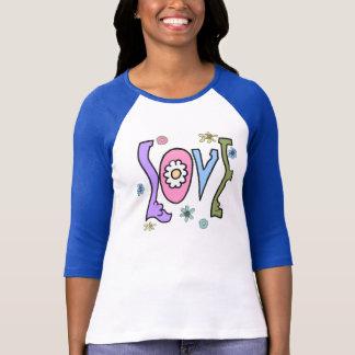 "Retro stil 60s/70s: Flower power""kärlek"" Raglan T-shirt"