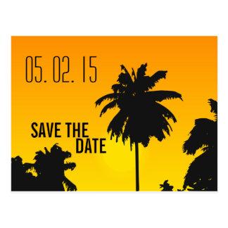 Retro strandbröllop spara datum vykort