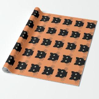 Retro svart katt Halloween som slår in papper Presentpapper