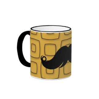 Retro svart mustasch ringer mugg
