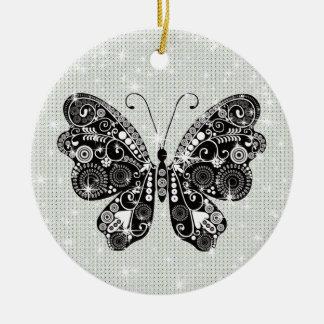 Retro svart- & vitfjäril julgransprydnad keramik