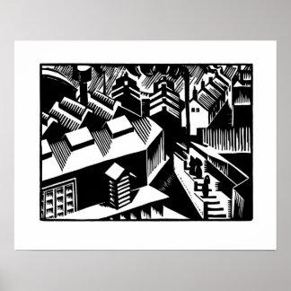 Retro svartvit konst, Yorkshire Poster