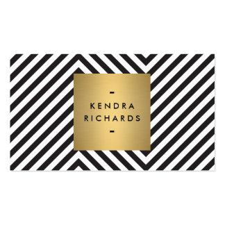 Retro svartvit logotyp för mönsterguldnamn set av standard visitkort