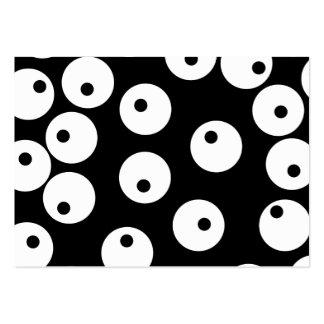 Retro svartvitt cirklar design set av breda visitkort