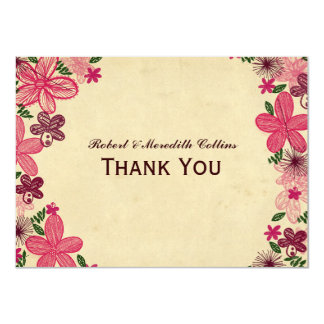 Retro tack för rosablommapersonlig 11,4 x 15,9 cm inbjudningskort