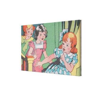 Retro tecknadkonst för vintage av liten flicka canvastryck