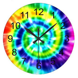 Retro Tiefärg färgrika Boho för Hippy fred Stor Klocka