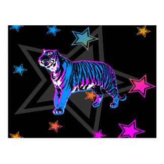 Retro tiger & stjärnor för Corey tiger80-tal Vykort
