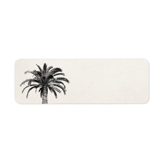 Retro tropisk öpalmträd i svartvitt returadress etikett