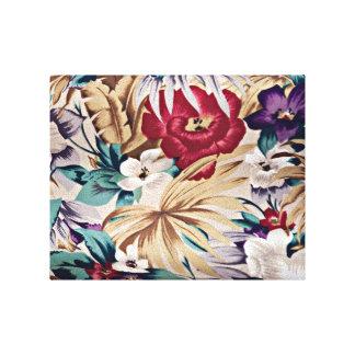 Retro tropiskt blommamönster canvastryck