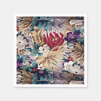 Retro tropiskt blommamönster servetter