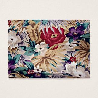 Retro tropiskt blommamönster visitkort