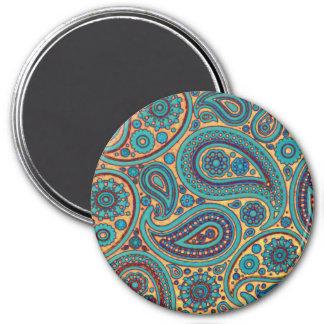Retro turkosregnbågePaisley motiv Magnet