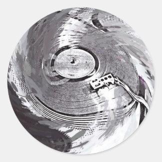Retro Turnable DJ rundar den glansiga Runt Klistermärke