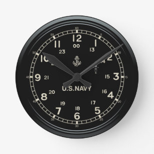 Retro U.S. NAVY Clock imitation Rund Klocka