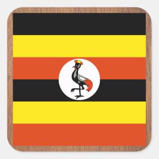 Retro Uganda flagga Fyrkantigt Klistermärke