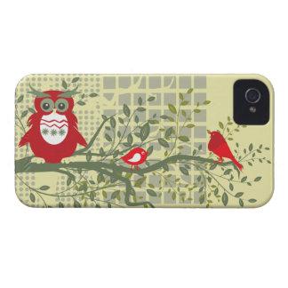 retro ugglor & fåglar på grenblackberry boldfodral Case-Mate iPhone 4 fodral