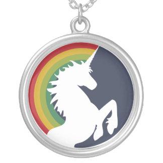 Retro Unicorn för 80-tal och regnbågehalsband Halsband Med Rund Hängsmycke