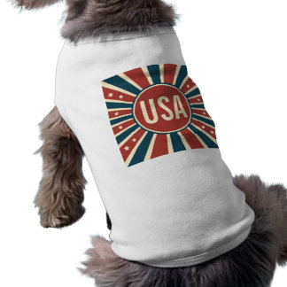 Retro USA stars och stripesSunburst Långärmad Hundtöja