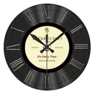 Retro utskrivaven design för vinyl rekord stor klocka