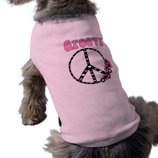 Retro utslagsplatser för modblommigt- och fredsymb hund kläder