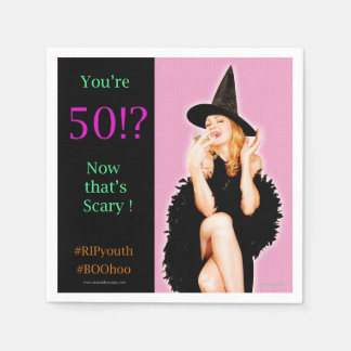 Retro utvikningsbildstilHalloween 50th B'day Papper Servetter