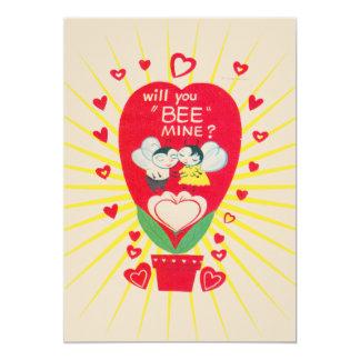 Retro valentinkortvintage 12,7 x 17,8 cm inbjudningskort